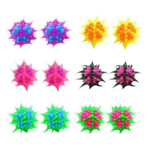SIL1064E-2 10mm Spiky Silicone Peace Stud Earrings - 12 Pairs Pack Unit