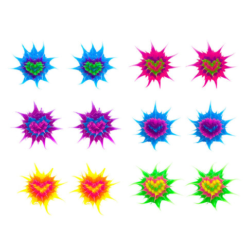 SIL1064E-3 10mm Spiky Silicone Heart Stud Earrings - 12 Pairs Pack Unit