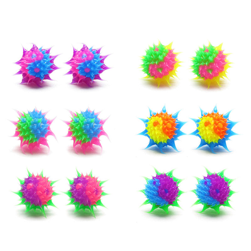 SIL1064E-4 10mm Spiky Silicone Yin Yang Stud Earrings - 12 Pairs Pack Unit