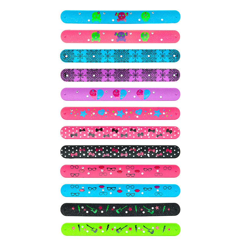SIL1090B Glitter Rhinestone Silicone Slap Bracelet - 12 pcs Pack Unit Or 48 Pcs Tray