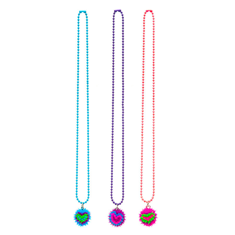 SIL1122N Spiky Silicone Heart Ball Chain Necklace - 12 Pc Pack Unit