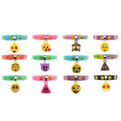SIL1221B Emoji Dangle Charm Silicone Snap Bracelet