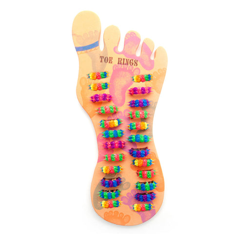 SILD1039TR Spiky Silicone Toe Rings Cuff Foot Display - 24 pcs Tray Unit