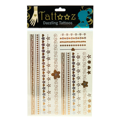 TT101GS Temporary Metallic Fashion Tattoos - 12 Pc Pack Unit