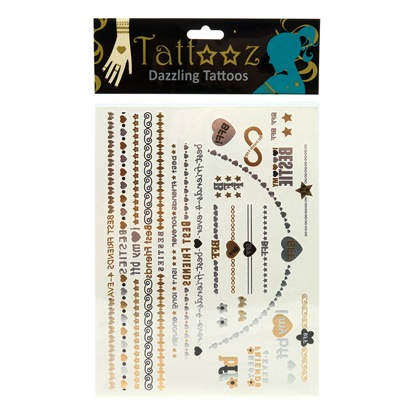 TT102GS Temporary Metallic flashy Gold and Silver Tattoos - 12 Pc Pack Unit
