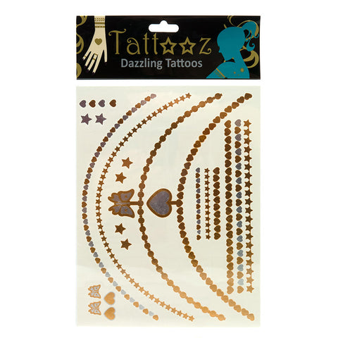 TT106GS Temporary Metallic Fashion Tattoos - 12 Pc Pack Unit