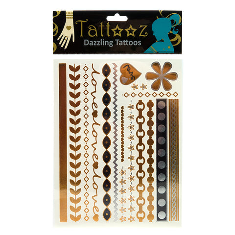 TT107GS-Temporary Metallic Fashion Tattoos-6 or 12 Pack Unit