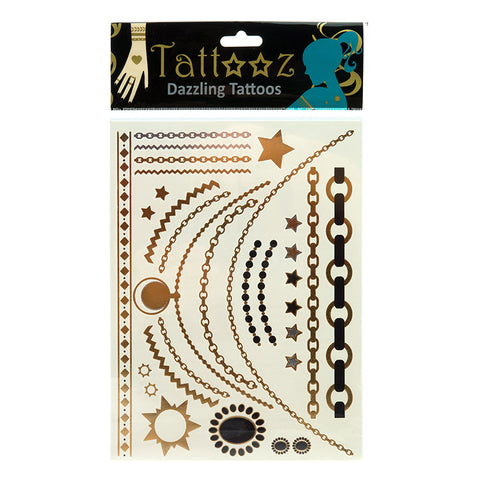 TT108GS: 6 or 12 Pack/Unit - Temporary Metallic flashy Gold and Silver Tattoos