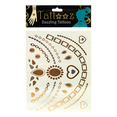 TT110 Temporary Metallic flashy Gold and Silver Tattoos - 12 Pc Pack Unit