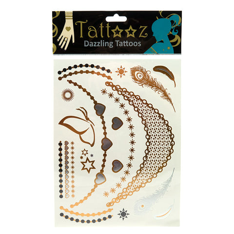 TT111:6 or 12 Pack/Unit - Temporary Metallic flashy Gold and Silver Tattoos