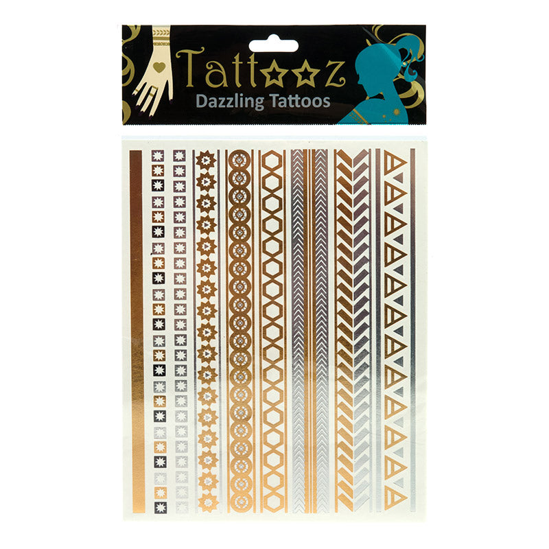 TT112 Temporary Metallic flashy Gold and Silver Tattoos - 6 pcs Pack Unit