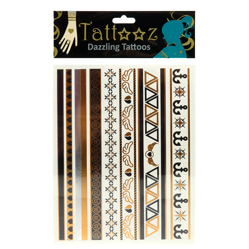 TT114 Temporary Metallic flashy Gold and Silver Tattoos - 12 Pc Pack Unit
