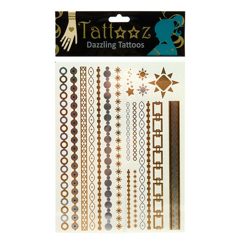 TT115 Temporary Metallic flashy Gold and Silver Tattoos - 12 Pc Pack Unit