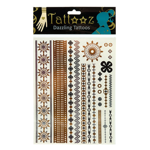 TT116: 6 or 12 Pack/Unit- Temporary Metallic flashy Gold and Silver Tattoos