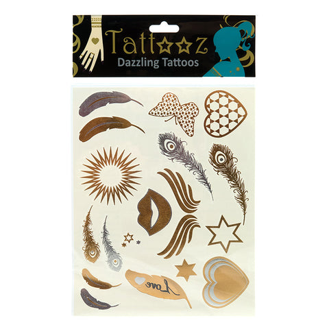 TT117 Temporary Metallic flashy Gold and Silver Tattoos - 6 pcs Pack Unit