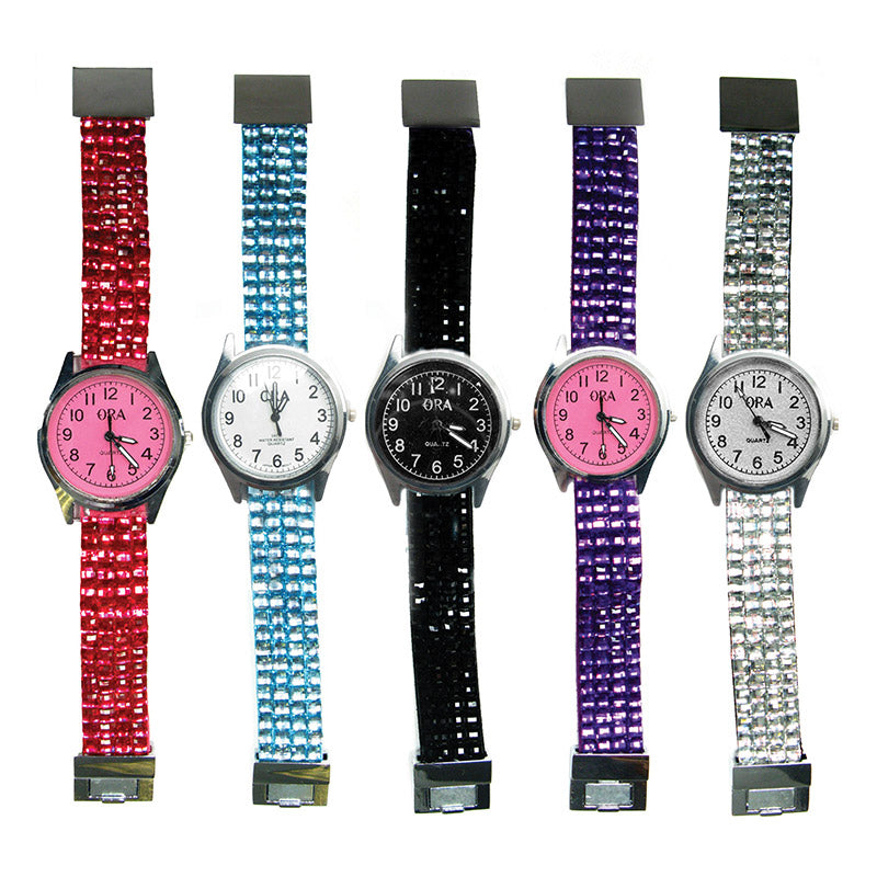TZ132 4 Row Rhinestone Ora Magnet Watch - 12 Pcs Pack Unit
