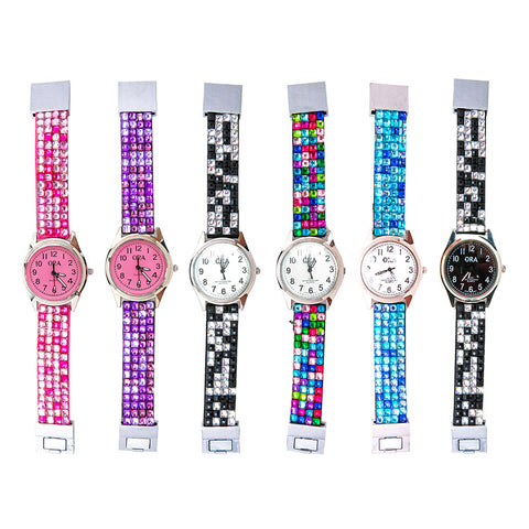 TZ132Z 4-Row Rhinestone Tie-Dye Ora Magnet Watch - 12 Pcs Pack Unit