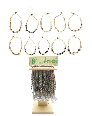 WHUD794ABX Assorted Hemp Anklets/Bracelets with Wood Beads - Wood Display