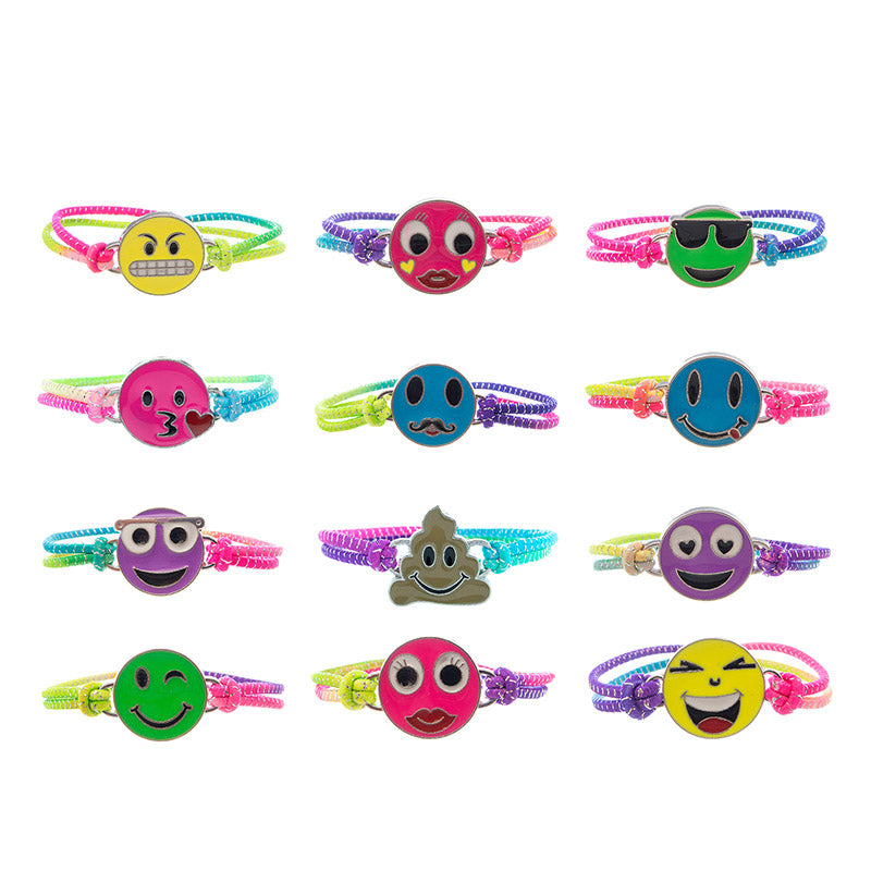 CRC1999B Neon Emoticons Smiley Stretch Bracelet - 12 Pc Pack Unit