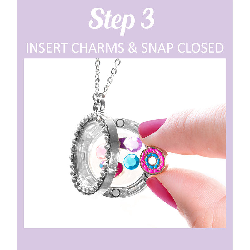 FP103N Round Bling Fantasy Magnet Story Locket Necklaces - 6 Pc Pack Unit