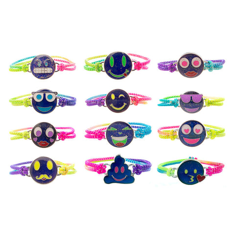 MD333B Mood Glitter Emoticons Smiley Emotions Stretch Bracelet -12 Pc Pack Unit