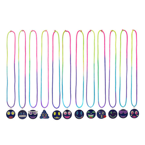 MD333N Emoticons Mood Faces Multi Stretch necklace - 12 Pc Pack Unit