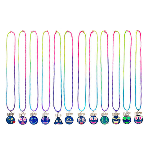 MD342N Emoticons BFF Mood Faces Stretch Necklaces Set of 2 - 12 Sets Pack Unit