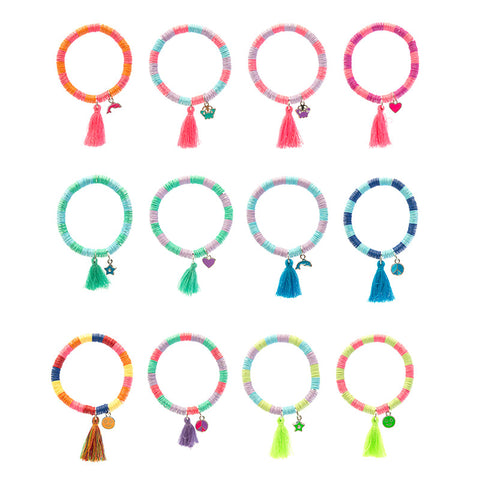 RFB1485B Bohemian Sequin Beaded Bracelet With Tassel and Charm - 12 Pc Pack Unit