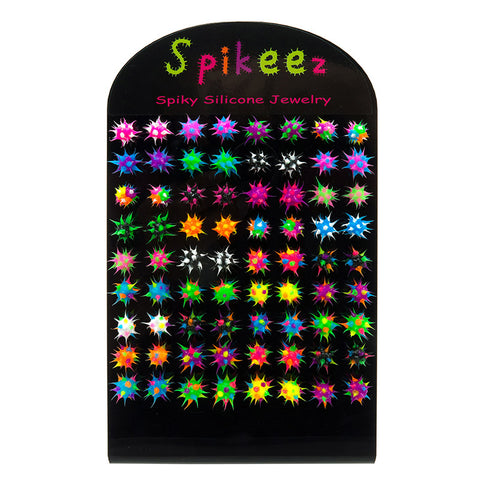 SIL1033DEX 8mm Spiky Silicone Studs - 36 Pairs Display