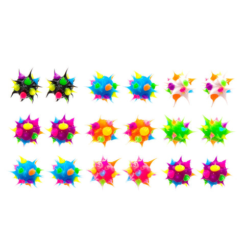 SIL1033EZ 8mm Trio Spiky Silicone Stud Solid Multi Earrings - 12 Trio Pack Unit
