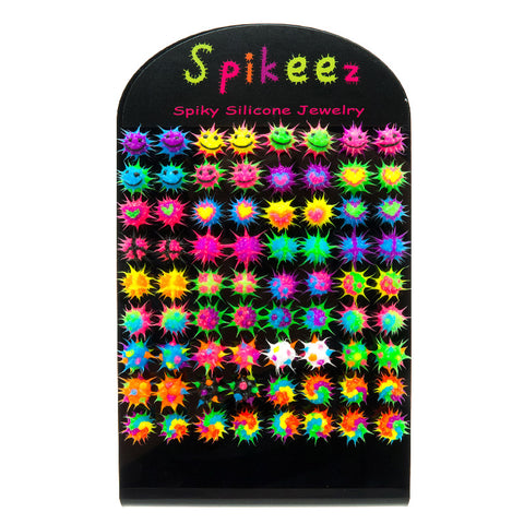 SIL1064DEX 10mm Spiky Silicone Studs - 36 Pairs Display