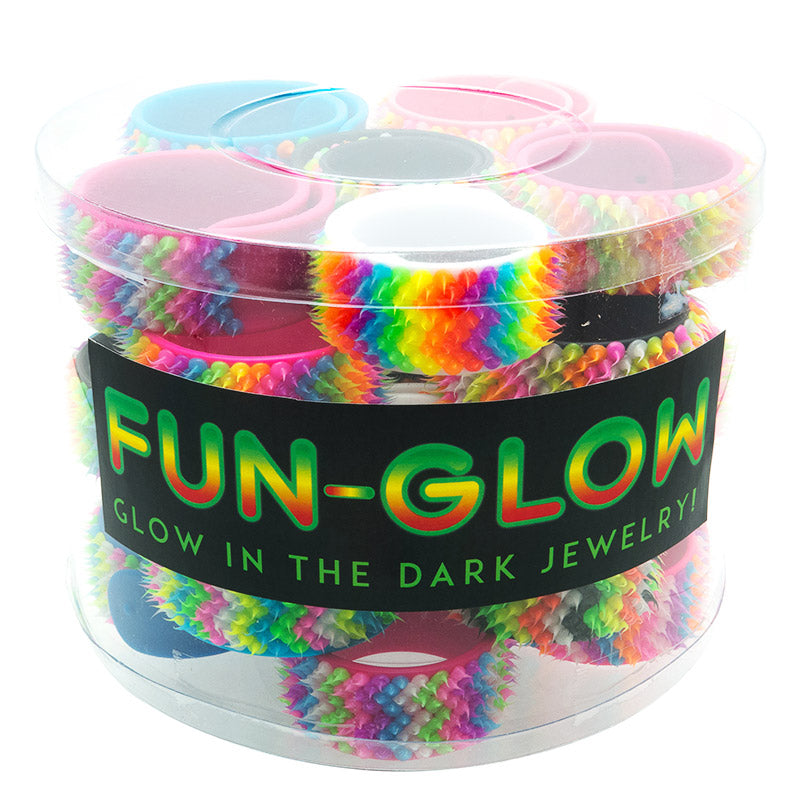 SIL1188B Spiky Glow In The Dark Silicone Slap Bracelets - 12 pcs pack or tub