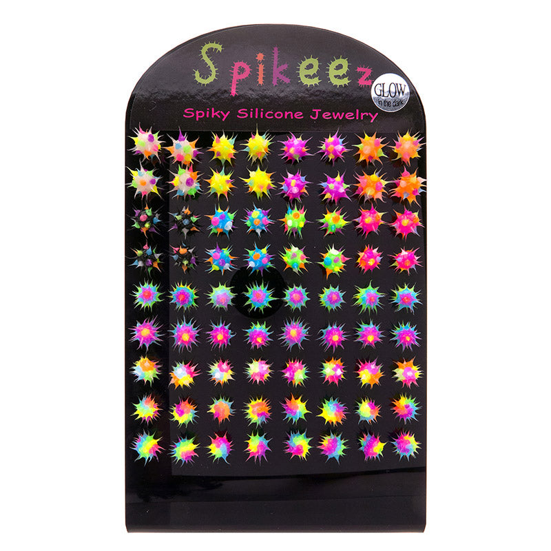 SIL1192DEX 8mm Glow In The Dark Spiky Silicone Studs - 36 Pairs Display