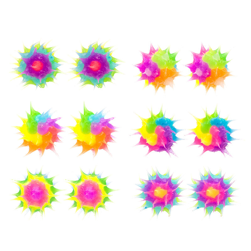 SIL1192E 8mm Glow In The Dark Spiky Silicone Multi Stud Earrings - 12 Pairs Pack Unit