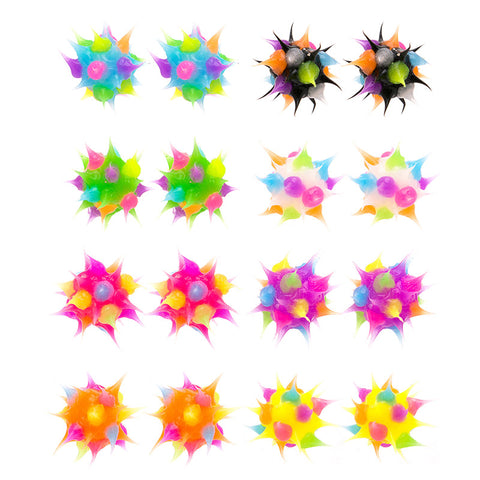 SIL1193E 8mm Glow In The Dark Spiky Silicone Multi Dots Stud Earrings - 12 Pairs Pack Unit