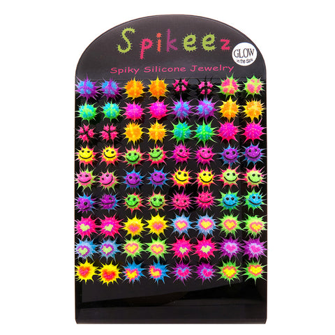 SIL1194DE 10mm Glow In The Dark Spiky Silicone Studs - 36 Pairs Display