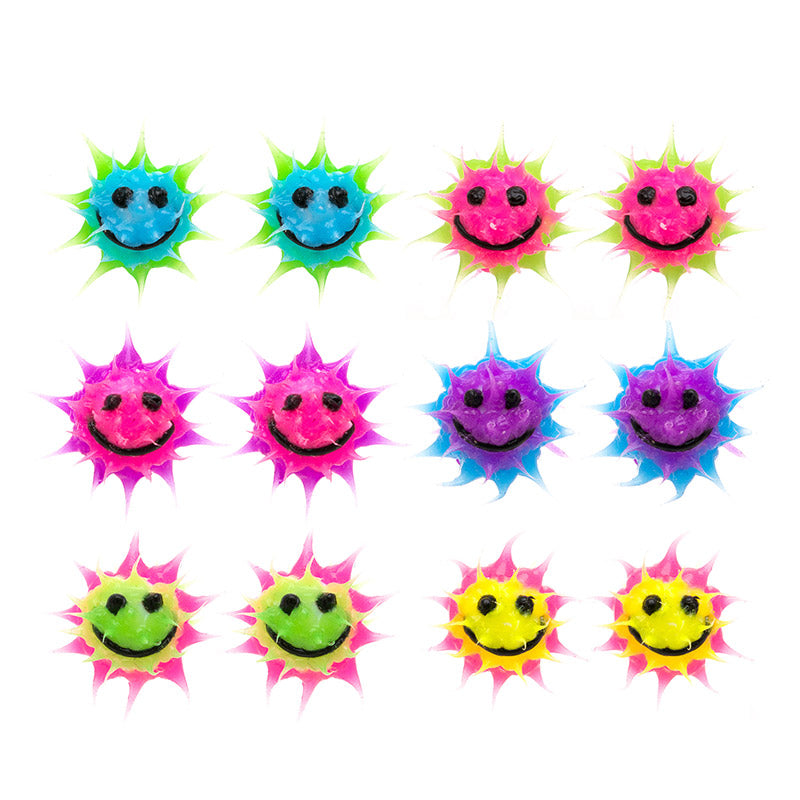 SIL1194E-1 10mm  Glow In The Dark Smiley Spiky Silicone Stud Solid Earrings - 12  Pack Unit