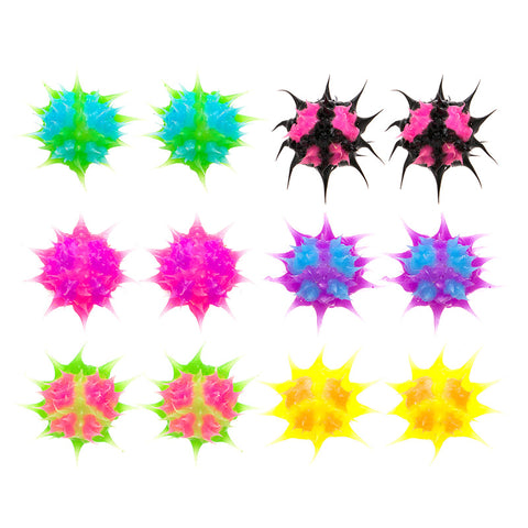 SIL1194E-2 10mm  Glow In The Dark Peace Spiky Silicone Stud Solid Earrings - 12  Pack Unit