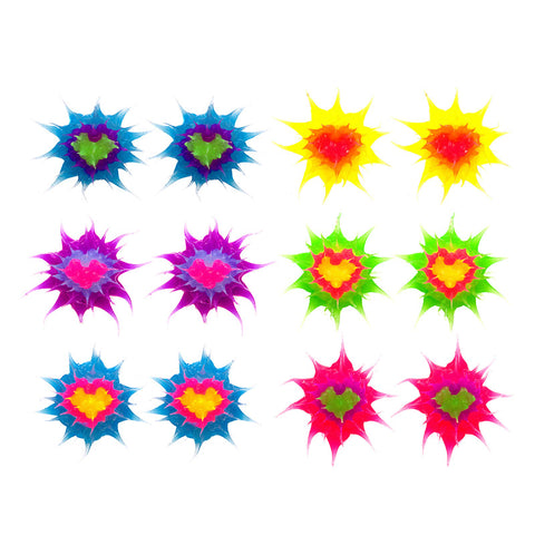 SIL1194E-3 10mm  Glow In The Dark Heart Spiky Silicone Stud Solid Earrings - 12  Pack Unit