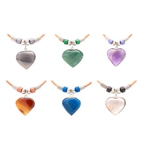 SPS126NA4 Semi Precious Heart Pendants Natural Leather Necklace - 12 Pc Pack Unit