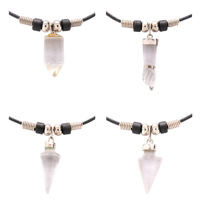 SPS131NA Crystal Semi Precious Assorted Shape Pendants Black Greek Leather Necklace - 12 Pc Pack Unit