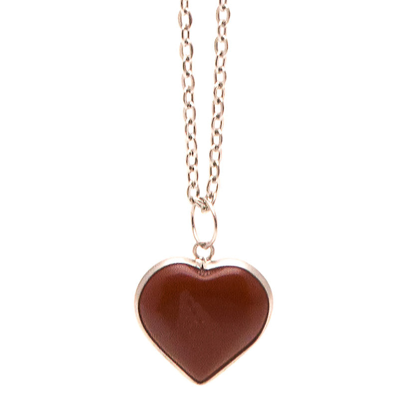 SPS135N Semi Precious Stone Heart Chain Necklace - 12 Pc Pack Unit