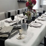 Black, White, Silver Tablescape