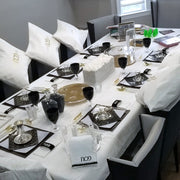 Pesach Black, White, Gold Tablescape