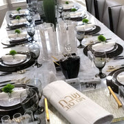 Black, White, Gold Tablescape