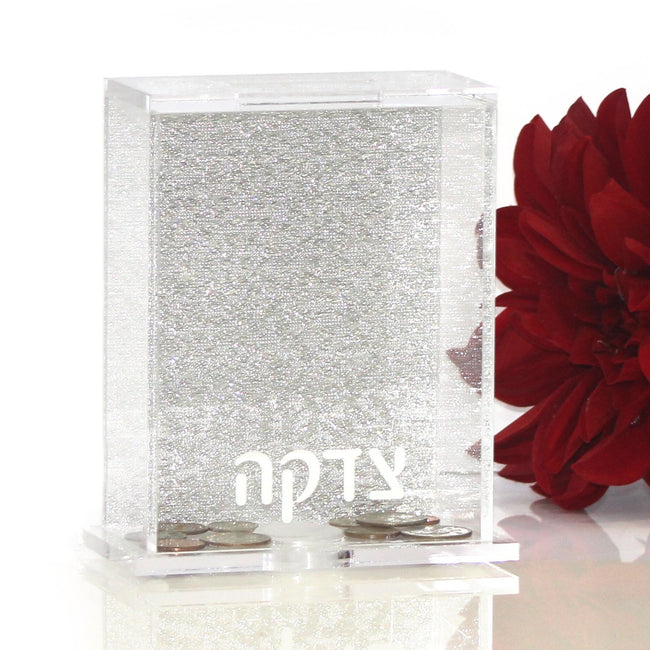 Lucite Charity Box - Glitter Back