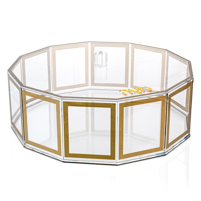 Lucite Matzah Box - Hexagon Outline