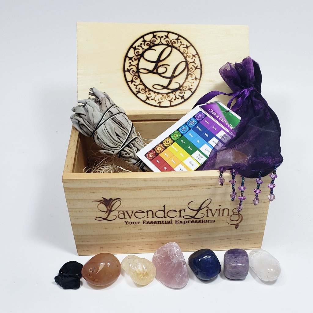 chakra stone set sage burning stick
