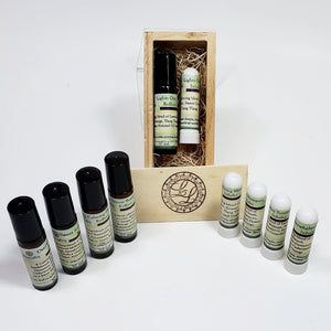 calming gift crate with roll-on and inhaler