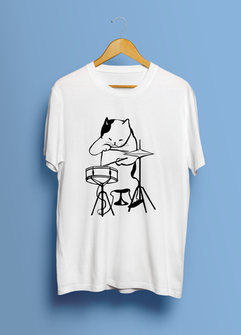 Cool Cat On The Drums (Unisex T-Shirt)